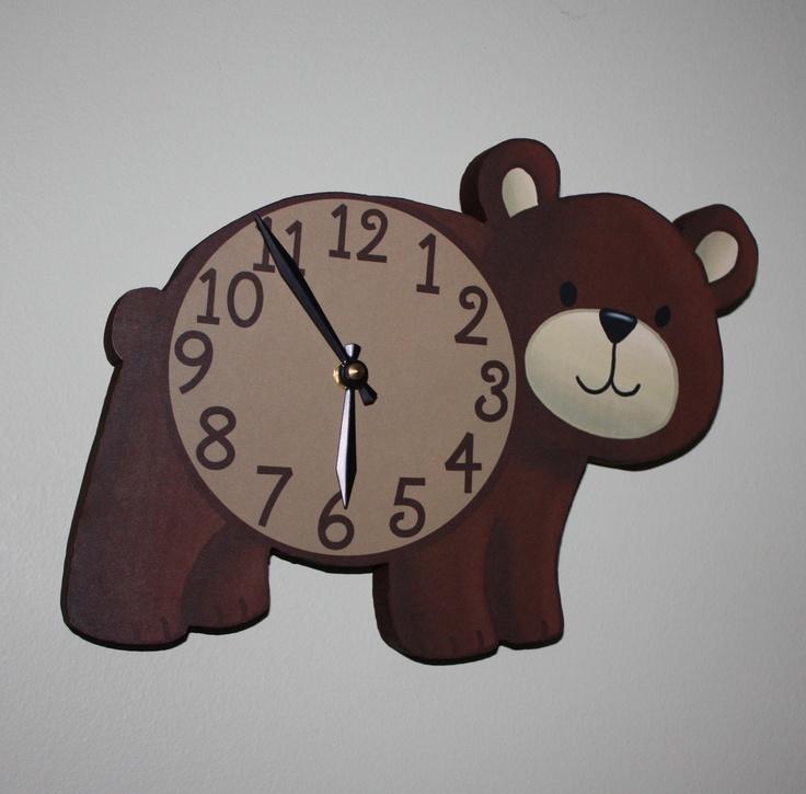 Brown Bear Woodland Forest Friends Animal Wooden WALL CLOCK Kids Bedroom Baby Nursery. $45.00, via Etsy.