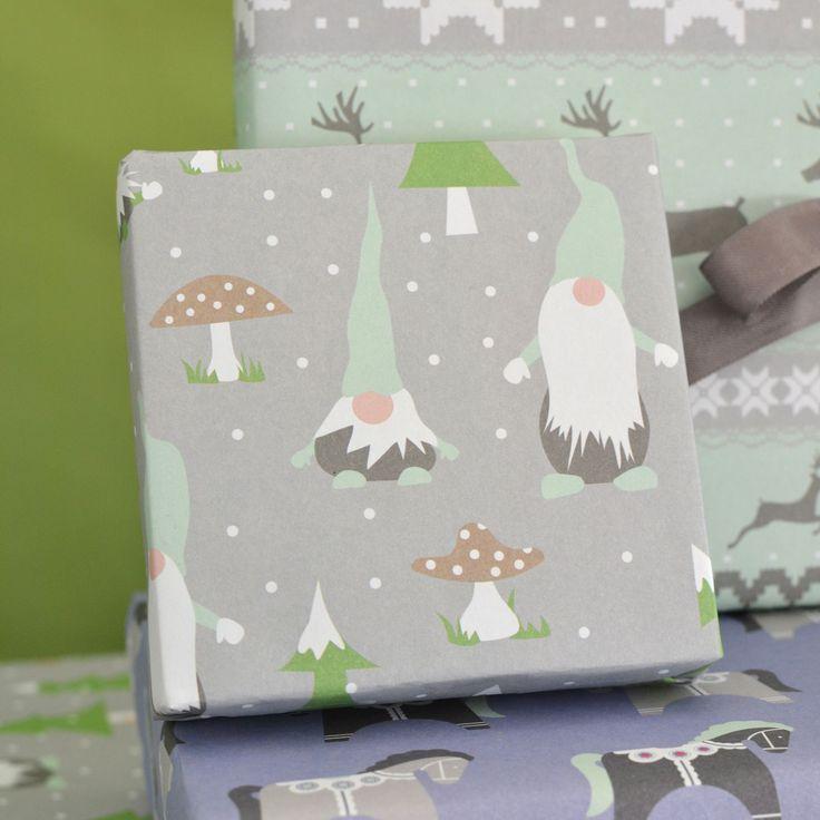 Gnomes Scandinavian Christmas Gift Wrap by Revel & Co.