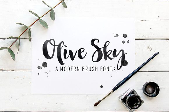 Modern brush font - Olive Sky  by skyladesign on Creative Market