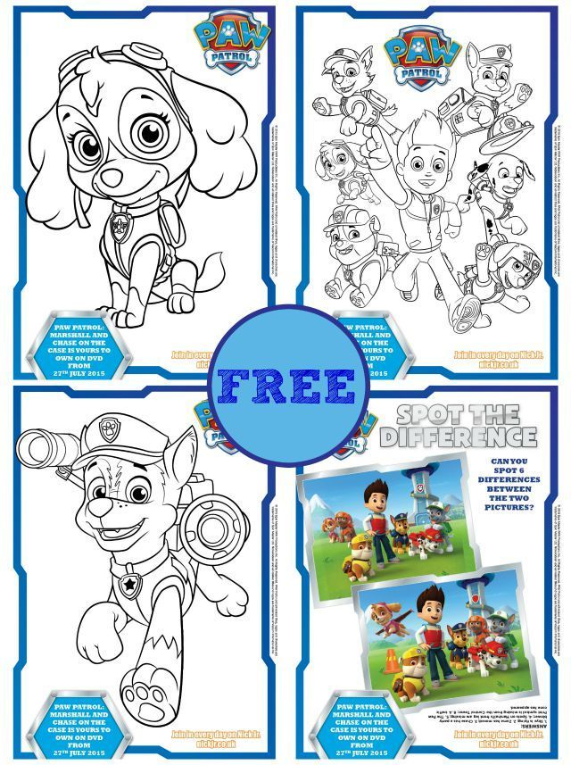 Check out our 4 free Paw Patrol colouring and activity