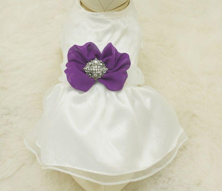 Purple Dog Dress,  Pet wedding accessory,dog clothing, Rhinestone, dog lovers, dog birthday gift, Purple wedding, purple dog wedding dress