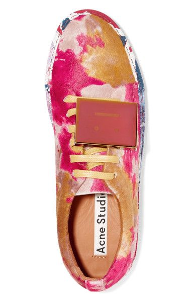 Acne Studios - Adriana Plaque-detailed Printed Calf Hair Sneakers - Yellow - IT39