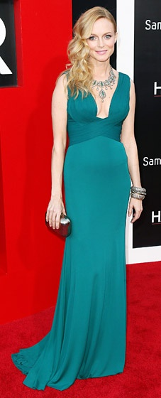 The actress wowed at the May 20 premiere of her new movie in Westwood, CA, in a green Herve L. Leroux gown.