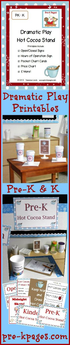 Dramatic Play Hot Cocoa Stand Printable kit for Pre-K and Kindergarten via www.pre-kpages.com