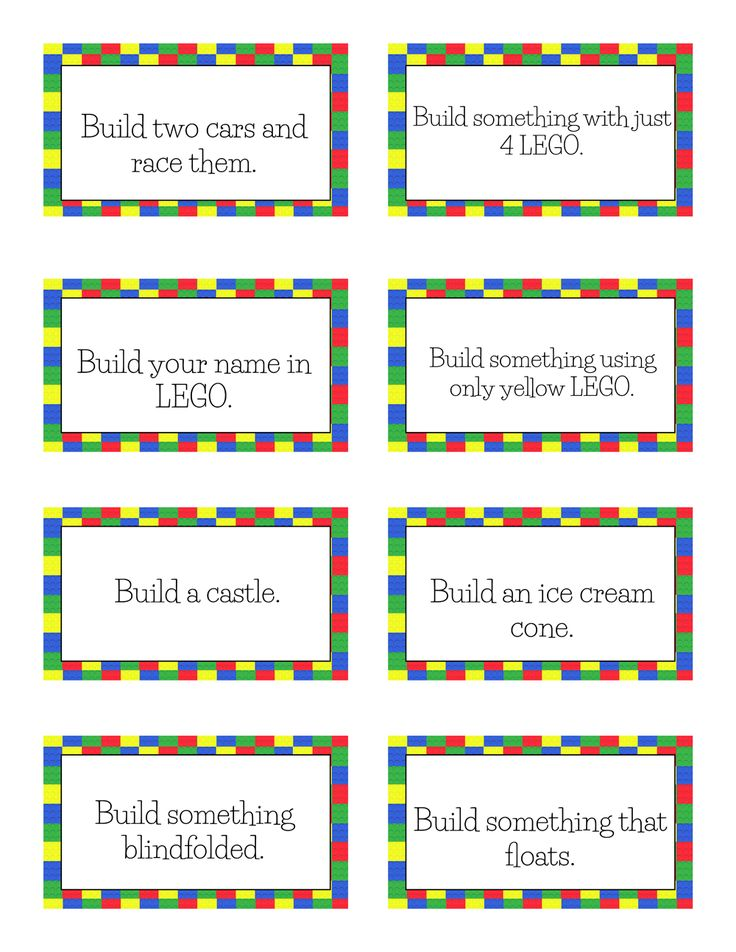 Free Printable LEGO Challenge Cards                                                                                                                                                                                 More