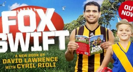 """The Christmases of small defenders across the AFL have come at once. No longer will they endure a sleepless night before playing the Hawks. No longer will they be left scratching their heads, asking """"How did Cyril do that""""?  You see, Rioli has co-authored a book revealing the football tips, tricks and drills that have made him such a dynamic player in six seasons so far.  Cyril has partnered with comedic writer David Lawrence to write children's book – Fox Swift."""