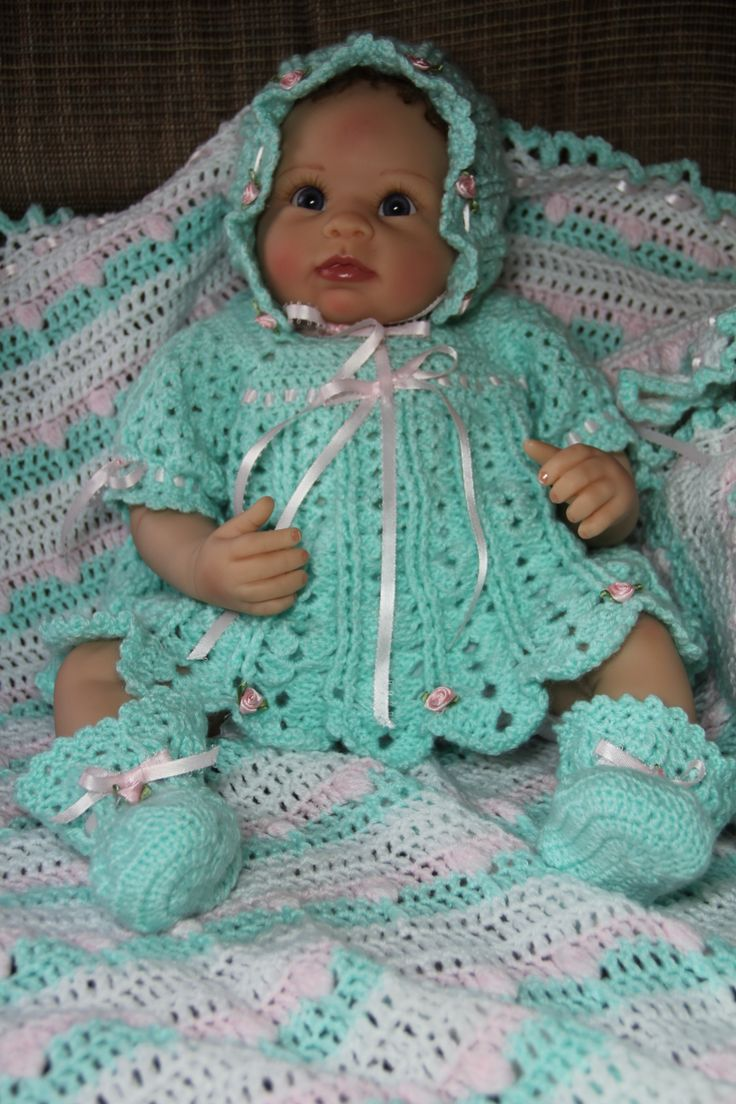 Crochet baby layette I made.  Inspiration for others.