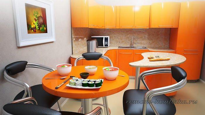 Самые лучшие кухни.: Офисная оранжевая кухня.