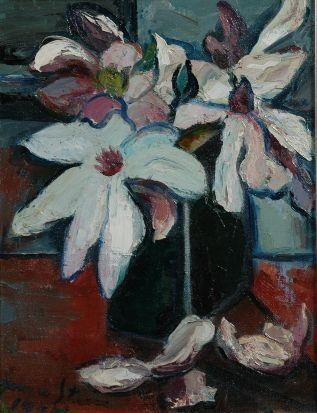 Artwork by Irma Stern, Magnolias, Made of charcoal on paper laid down on card