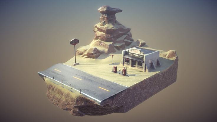 Abandoned Gas Station Diorama, Piers Coe on ArtStation at https://www.artstation.com/artwork/AQz2q