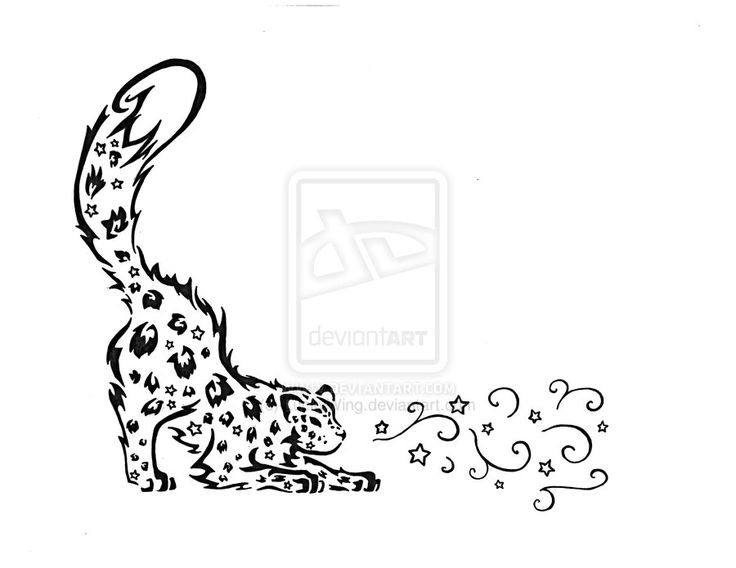 Tribal Snow Leopard Tattoo by ~LuckyWing on deviantART