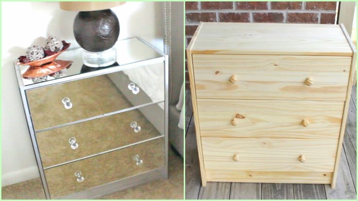 Hey Loves! In the video I will share how to make your own Mirrored Nightstands! W H A T Y O U ' L L N E E D: Nightstand or IKEA Rast Chest Mirrored Glass Mir...