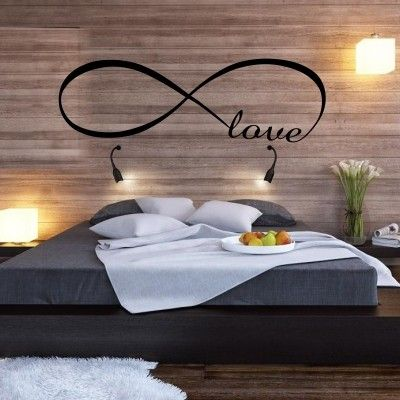"""Adesivo Murale - Amore Senza Fine. Frasi romantiche.  Adesivo murale di alta qualità con pellicola opaca di facile installazione. Lo sticker si può applicare su qualsiasi superficie liscia: muro, vetro, legno e plastica.  L'adesivo murale """"Amore Senza Fine"""" è ideale per decorare la camera da letto. Adesivi Murali."""