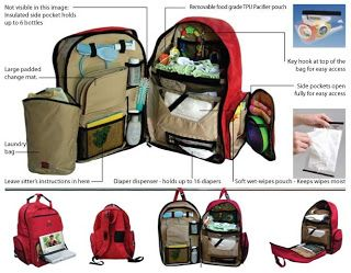 Okkatots diaper backpack  - Insulated Pockets: Holds six full-size baby bottles while multiple pockets and pouches keep small or important items from getting lost, such as keys, toys, travel papers, DVDs, books, and everything is easily accessible. - Diaper Station: Includes a soft changing pad, removable wipe dispenser, and dispenser for SIXTEEN diapers!   I'm sold for the next baby