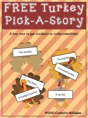 Turkey Pick-a-Story FREE from Created by MrHughes on TeachersNotebook.com -  (10 pages)  - Need a fun way to get your students writing creatively this Thanksgiving season? Look no further!  When students pull out a setting and a character and are challenged to write a short story about it, magic happens!