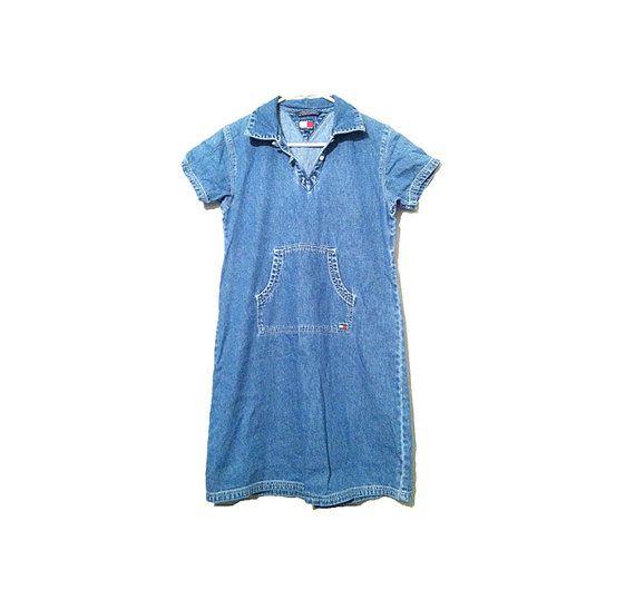 15 % des années 90 Tommy Hilfiger Denim globalement Flowy tunique chemise robe une pièce poche sur le devant col Grunge Midi Hipster bleu Jean Cavalier