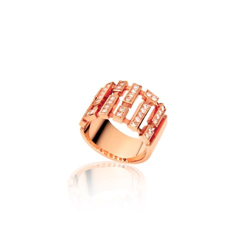 Cubic ring in 18KT pink gold with diamonds.