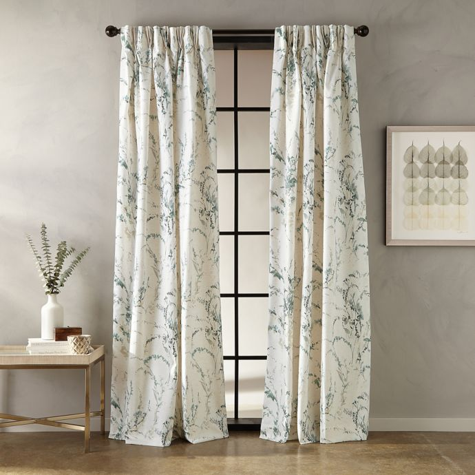 Botanical Pinch Pleat Window Curtain Panel In 2020 Dining Room