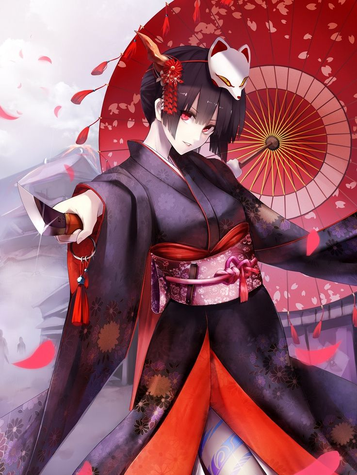 Anime 1056x1404 anime anime girls kimono Japanese clothes short hair black hair red eyes knife