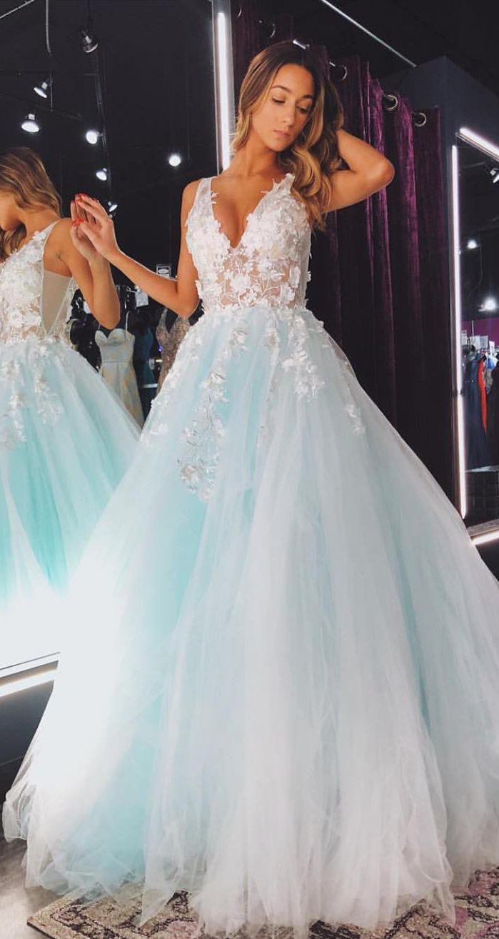 princess mint green long prom dresses, fashion prom gowns for teens, chic a line…