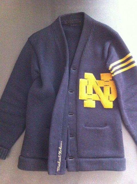 Vintage varsity Notre Dame Cardigan/Letter Sweater