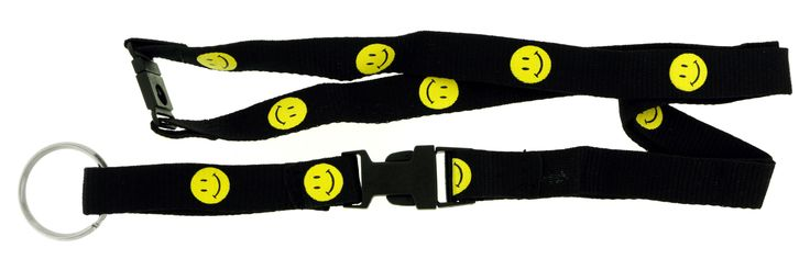 Detachable Black Lanyard With Yellow Smiley Faces With Silver-Tone Split-Ring Key Chain KEKC3715