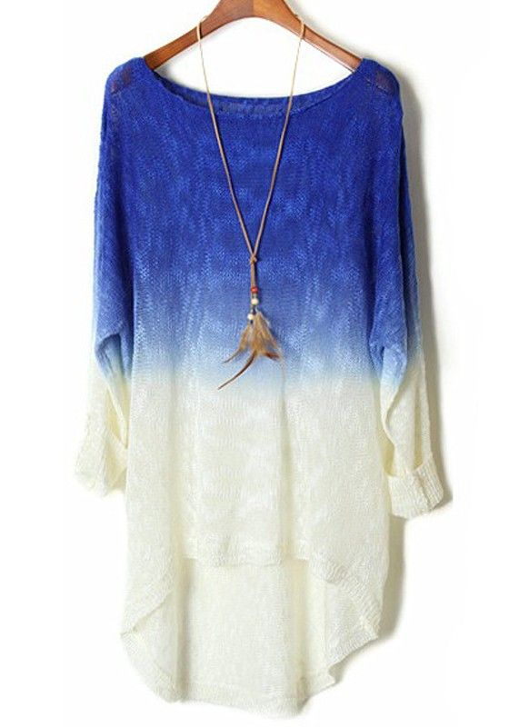 Sapphire Blue Gradient Batwing Long Sleeve Wool Sweater
