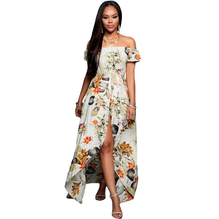 Luxury Brand New Evening Long Maxi Wedding Party Dress For Women Floral Print Off The Shoulder Vintage Boho Dresses Robe