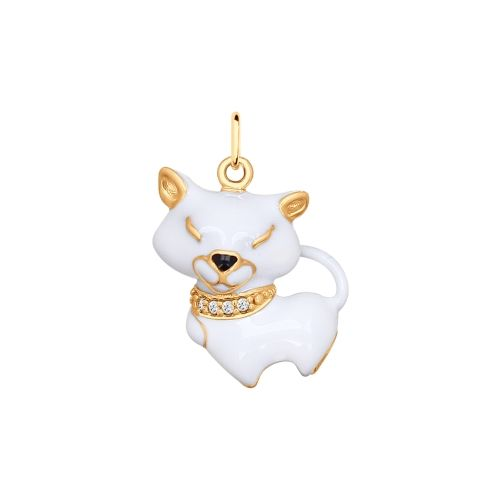 Подвеска в форме кошки с белой эмалью