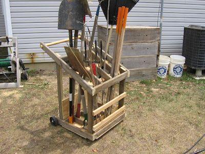Garden tool storage cart woodworking projects plans for Diy garden tool storage