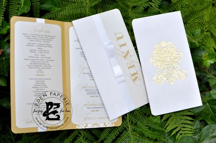 white suede menu gold foil