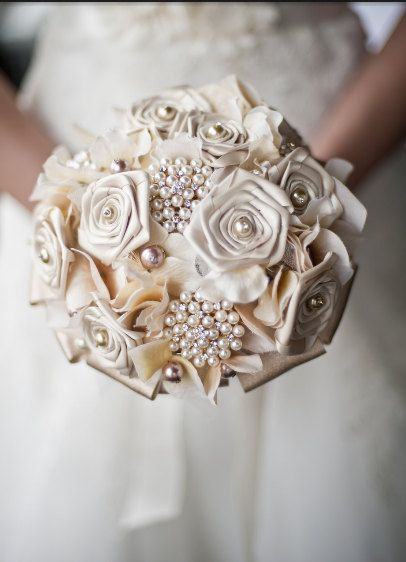 Ivory Brooch Bridal Bouquet with Ivory Hydrangea, Ivory Satin Roses, Beautiful Pearl Brooches, Burlap and Lace.