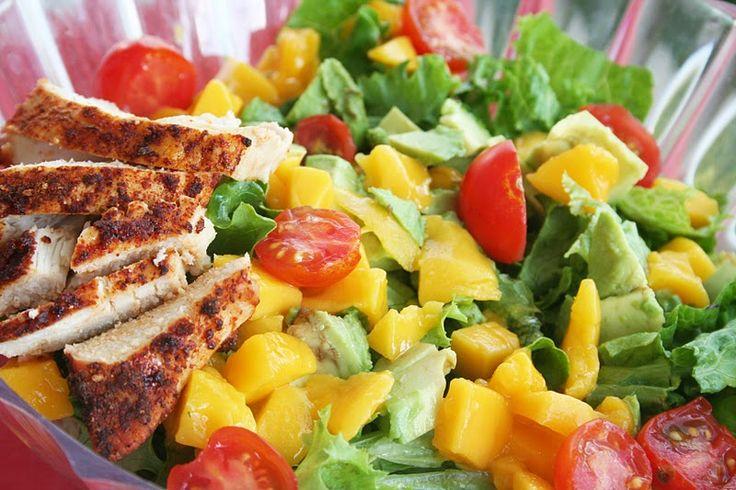 Cilantro Vinaigrette on Mango Chicken Salad - Oh Sweet Basil