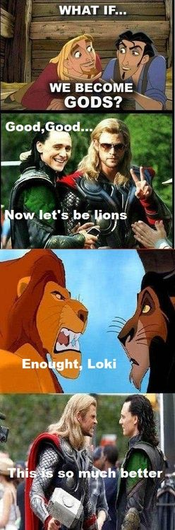Thor and Loki, Mufasa and Scar, Miguel and Tulio:)