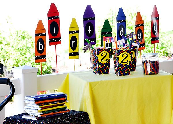 lets just say im building on this idea for kiddos b day crayon birthday partiesthemed