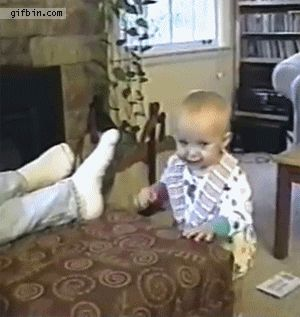 Adorable baby GIF's trying to experience things first time #GIF #Baby #Funny