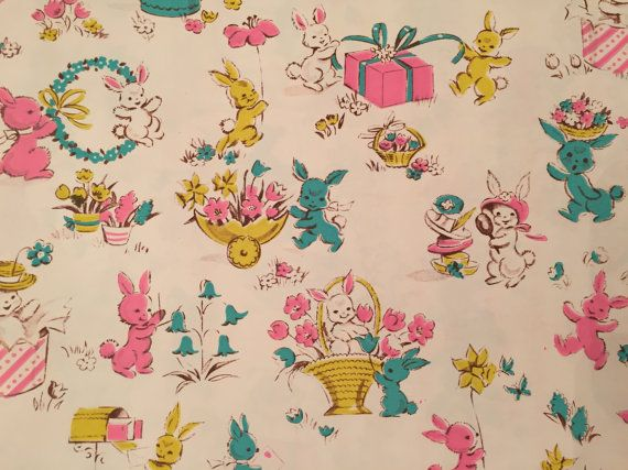 1951 best the goose and the hound vintage wrapping paper images vintage gift wrapping paper by dennison easter paper festive easter bunnies and spring delights 1 unused full sheet easter gift wrap negle