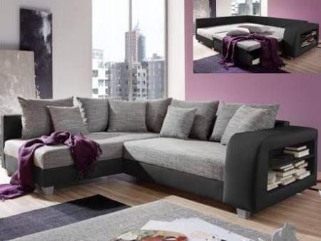 Canapé convertible lit gris clair et gris anthracite → touslescanapes.com