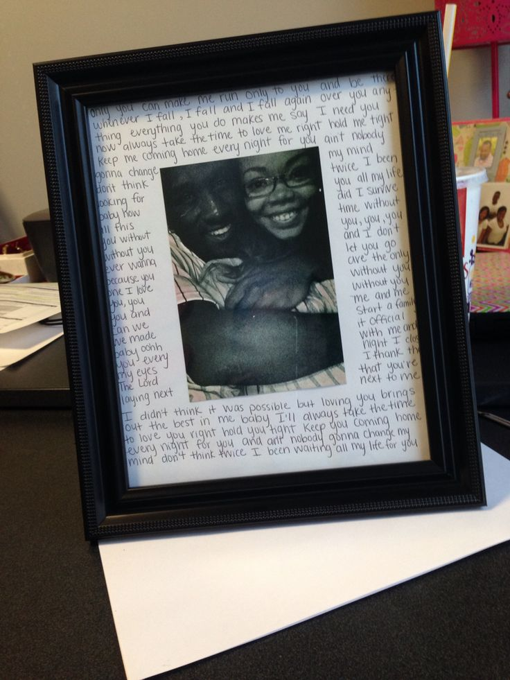 DIY picture frame for my boyfriend with love song lyrics #DIY #pictureframe #couple #gift
