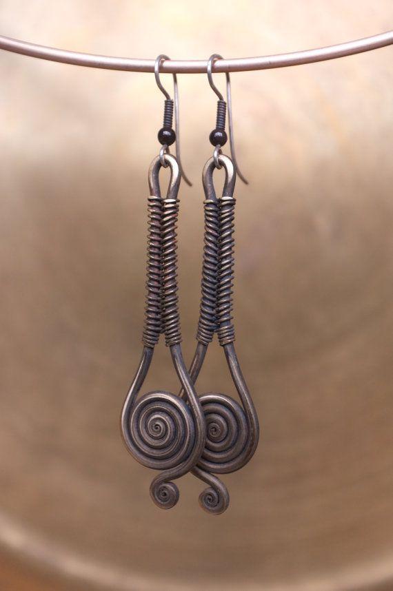 Droplet-earrings with garnet gemstones,silver loop earwires,Wrapped jewelry,handmade,brass jewelry,Rustic,Armenian ethnic jewelry on Etsy