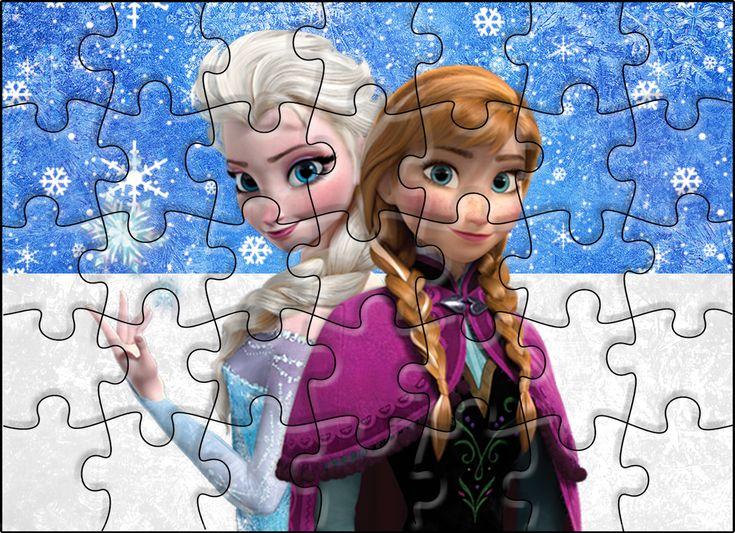 Quebra-cabeça Frozen Azul e Branco: