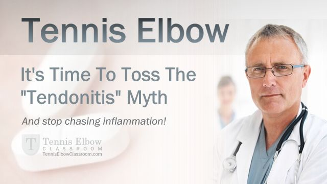 Tossing The Tendonitis Myth – Why Tennis Elbow Is NOT Inflammatory - Inflammation – It's the ultimate sacred cow of Tennis Elbow! (Also known as Lateral Epicondylitis or Elbow Tendonitis.)  But if you're still treating, fighting or worrying about it – Here's why you're wasting your time… Chasing a ghost.  Here's what medical researches first started finding ou... - http://tenniselbowclassroom.com/what-is-tennis-elbow-1/tennis-elbow-tendonitis-inflammation-