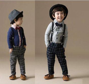 2015 moda formal roupas de primavera bebê menino terno cavalheiro criança meninos roupas definir manga longa camisa arco + calças para crianças