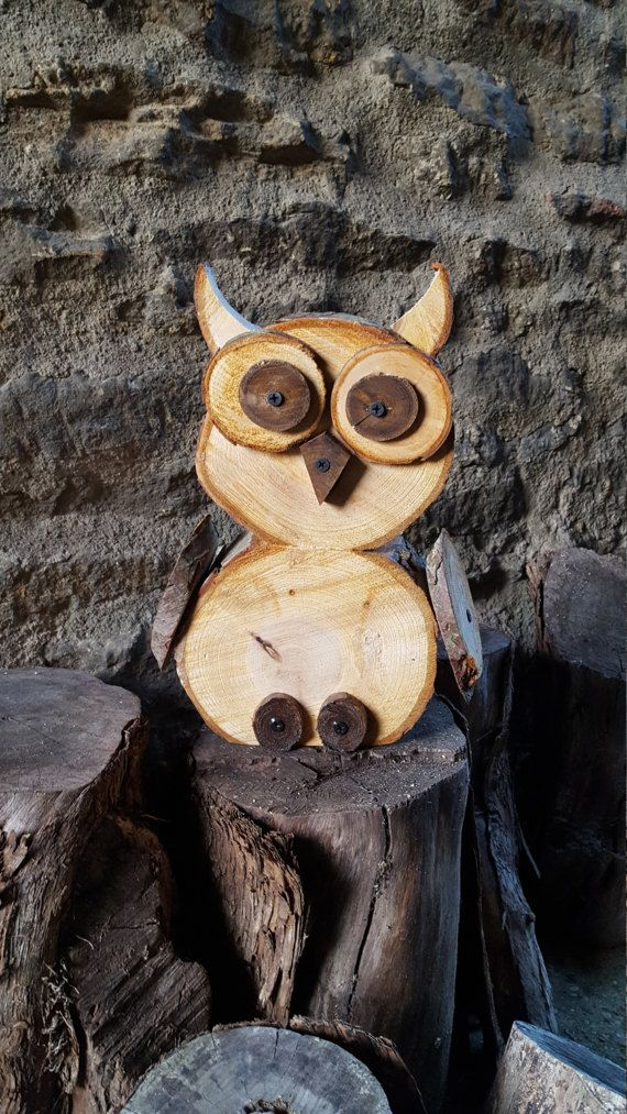 Wood slice/Log Owl by TheWoodStackShop on Etsy