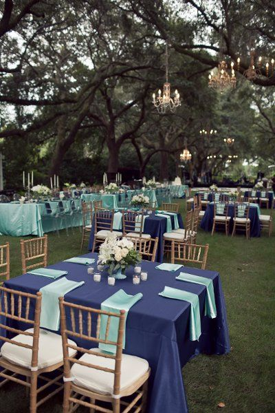 Blue and teal reception decor.