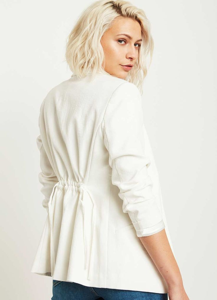 IVORY RUCHED BACK BLAZER | Mint Velvet