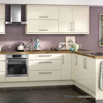 Wickes - Orlando Cream Gloss. This high gloss contemporary kitchen in cool cream is perfect for the modern home. Click here for more information - http://bit.ly/1V0wpkZ