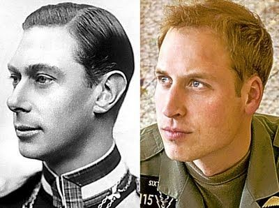 Side by side photos of George VI and his great grandson, Prince William, Duke of Cambridge.
