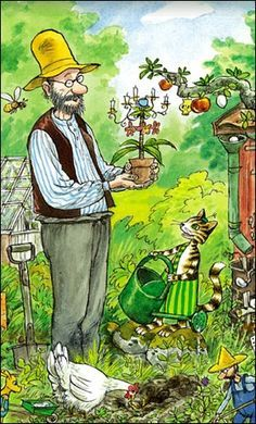 Pettson and his cat Findus; from a series of children's books by Swedish author and illustrator Sven Nordqvist
