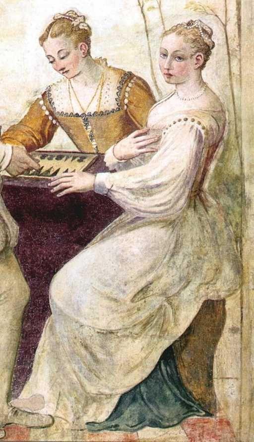 Trictrac  by Giovanni Antonio Fasolo,: Costumes, Fresco Venice, Giovanni Antonio, Venetian Provinc, Fresco Details, Villas Campiglia, C1565, Antonio Fasolo, Venice Giovanni